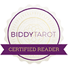 Biddy Tarot certified reader badge