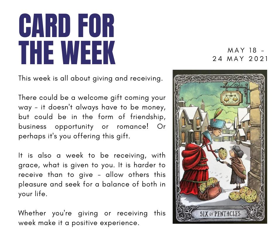 Six of Pentacles card of week